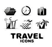 Black glossy travel icon set Royalty Free Stock Image