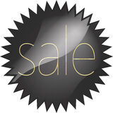 Black glossy vector price tag with a gold inscription sale Stock Photography