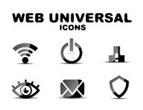 Black glossy web universal icon set Royalty Free Stock Image