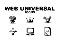 Black glossy web universal icon set Stock Photography
