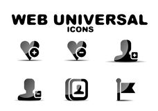 Black glossy web universal icon set Royalty Free Stock Photo
