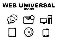 Black glossy web universal icon set Stock Photo