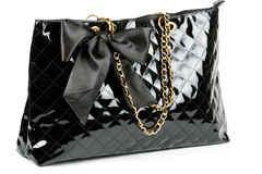 Black glossy women's handbag Royalty Free Stock Photography