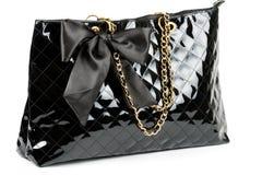 Black glossy women's handbag Royalty Free Stock Photography