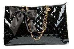 Black glossy women's handbag Royalty Free Stock Photo
