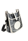 Black glossy womens bag  on white background. Royalty Free Stock Photography