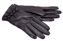 Black gloves. Women black leather glove isolated on white Royalty Free Stock Photos