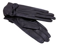 Black gloves. Women black leather glove isolated on white Royalty Free Stock Image