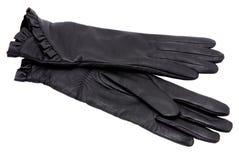 Black gloves. Women black leather glove isolated on white Stock Photos