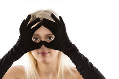 Black gloves blondes Royalty Free Stock Photos