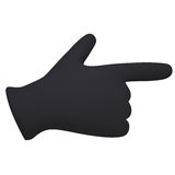 Black gloves. Forefinger shows Stock Image