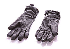 Black gloves isolated Royalty Free Stock Photos