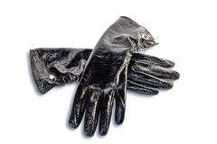Black gloves isolated Royalty Free Stock Photography