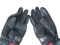 Black gloves motorcycle isolated on white background Royalty Free Stock Photography
