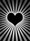 Black glowing heart. Illustration of black glowing heart Royalty Free Stock Images