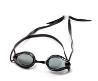 Black goggles for swimming on white background Royalty Free Stock Image