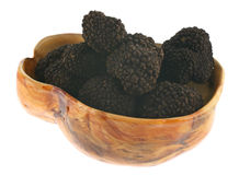 Black Gold. Truffles in a wooden bowl, isolated on white. Truffles are valuable subterranean ascomycetous fungi. They have strong odor and are used sparingly stock photo