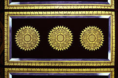 Black and gold. Detail of Thai temple ceiling Royalty Free Stock Photos