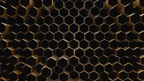 Black-gold abstract field hexagon. Black-gold shine abstract field vj hexagon 4k Royalty Free Stock Images