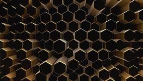 Black-gold abstract field hexagon. Black-gold shine abstract field vj hexagon 4k Stock Images