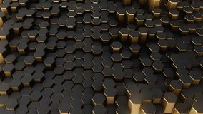 Black-gold abstract field hexagon. Black-gold shine abstract field Stock Photography