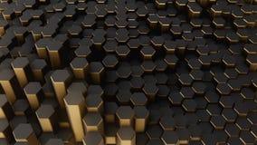 Black-gold abstract field hexagon. Black-gold shine abstract field vj hexagon 4k Stock Photo