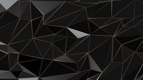Black and gold abstract low poly triangle background. 4k stock footage