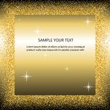 Black and gold background with circle frame and space for text. golden dust. Great for valentine, christmas and birthday royalty free illustration