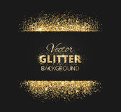 Black and gold background with glitter frame Stock Photo