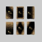 Black and gold background with glitter frame and space for text. Vector glitter decoration, golden dust. Great for christmas and birthday cards, wedding vector illustration
