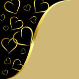 Black and gold background with hearts Royalty Free Stock Photos