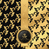 Black and gold background with vertical ribbon and round VIP logo. Stock Photos