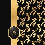 Black and gold background with vertical ribbon and square VIP logo. Royalty Free Stock Photos