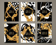 Black and Gold Banners Set. Greeting Card Design. Golden Brush Strokes. Vector Illustration. Painted Poster Invitation Template Royalty Free Stock Photos