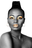 Black and gold beauty face Royalty Free Stock Image