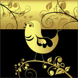 Black and gold bird, vector Stock Photography