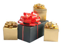 Black and gold boxes with bow Royalty Free Stock Photos