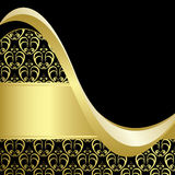 Black and gold bright card with gold pattern - eps Royalty Free Stock Photography