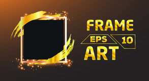 Black with gold brush Frame Art Stock Images