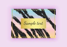 Black with gold business card, brush stroke designs on the colorful gradient background. Abstract modern backgrounds. Templates fo. R banners, flyers, placard royalty free illustration