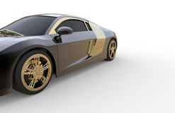 Black and gold car. With white backround Royalty Free Stock Photo