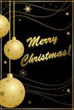 Black and gold card for christmas - vector Royalty Free Stock Image