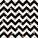 Black and Gold Chevron and Polka Dots Seamless Pattern Royalty Free Stock Photography