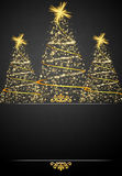 Black and Gold Christmas card illustration. Abstract background tree bird black box branch celebrate stock illustration