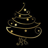 Black and gold christmas tree Royalty Free Stock Images
