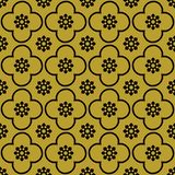 Black on gold club and circle seamless repeat pattern background royalty free illustration