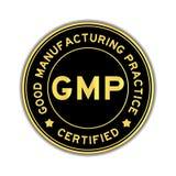 Black and gold color GMP round sticker stock image