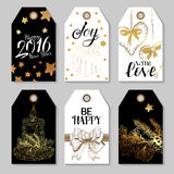 Black and Gold colors Set of Merry Christmas tags Royalty Free Stock Image