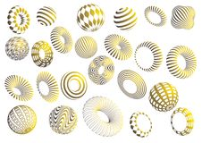 Black and gold 3d shapes vector set. Black and gold 3d shapes on white background - vector set Stock Photography
