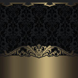 Black and gold decorative background with space for text. Royalty Free Stock Photos